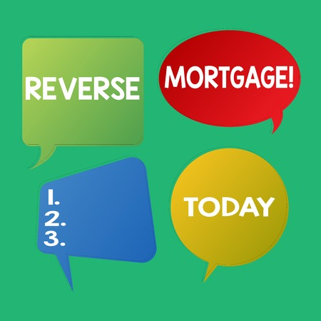 Word writing text Reverse Mortgage. Business photo showcasing financial agreement which homeowner relinquishes equity Blank Speech Bubble Sticker in Different Shapes and Color for Multiple Chat 版權商用圖片