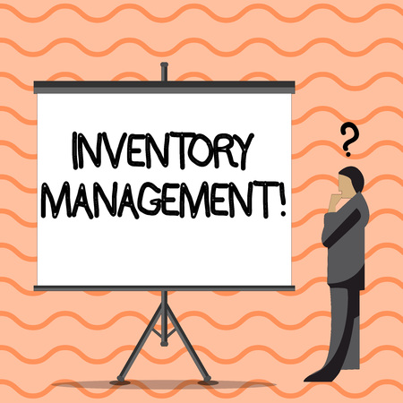 Writing note showing Inventory Management. Business concept for supervision of non capitalized assets and stock items Businessman with Question Mark Above his Head Blank Screen