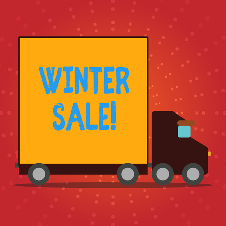 Writing note showing Winter Sale. Business concept for occasion when shop sells things at less than their normal price Lorry Truck with Covered Back Container to Transport Goods 免版税图像