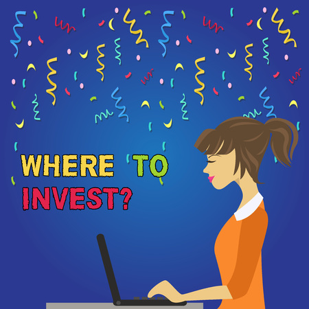 Writing note showing Where To Invest Question. Business concept for put money into financial schemes shares or property photo of Young Busy Woman Sitting Side View and Working on her Laptop Archivio Fotografico