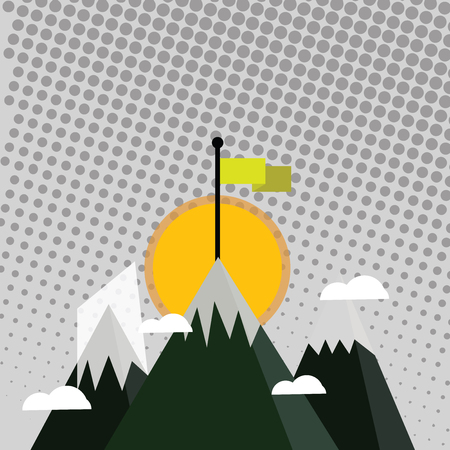 Three High Mountains with Snow and One has Blank Colorful Flag at the Peak Design business Empty template isolated Minimalist graphic layout template for advertising