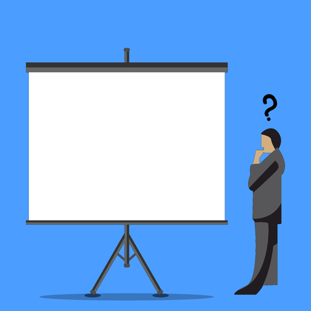 Businessman with Question Mark Above his Head Standing Beside Blank Screen Design business concept Empty template copy space text for Ad website isolated Ilustrace
