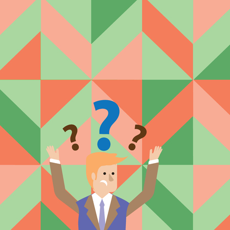 Confused Businessman Raising Both Arms with Question Marks Above his Head Business concept Empty template copy space isolated Posters coupons promotional material