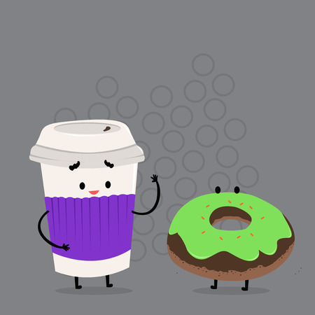 Carry Out Paper Cup with Lid and Sleeve Beside Doughnut with Frosting on Top Design business concept Empty copy text for Web banners promotional material mock up template. Ilustrace