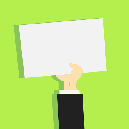 Clipart of Hand Holding Up Blank Sheet of White Paper on Pastel Backdrop Design business concept Empty copy text for Web banners promotional material mock up template. Ilustração