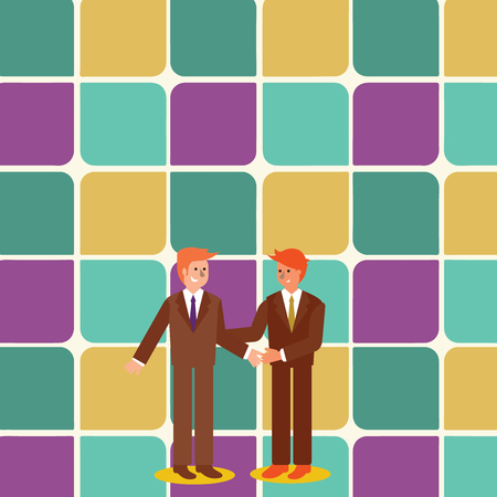 Two Businessmen Standing, Smiling and Greeting each other by Handshaking Business concept Empty template copy space isolated Posters coupons promotional material Illustration
