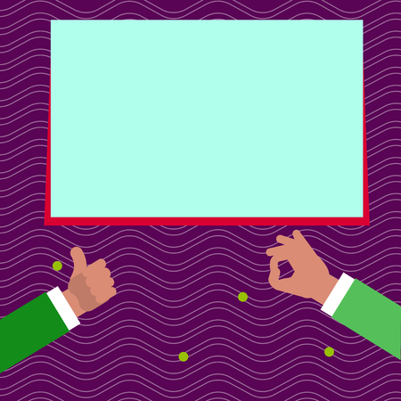 Two Businessmen Hands Gesturing the Thumbs Up and Okay Sign for Promotion Design business concept Empty copy space modern abstract background Illustration