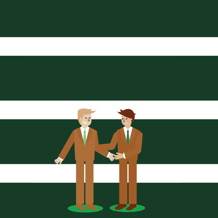 Deux hommes d'affaires debout, souriant et se saluant en se serrant la main Modèle vide pour la mise en page pour le bon d'affiche de promotion de carte de voeux d'invitation Vecteurs