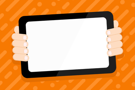 Color Tablet Smartphone with Blank Screen Handheld from the Back of Gadget Design business concept Empty copy text for Web banners promotional material mock up template. Stock Vector - 123942195