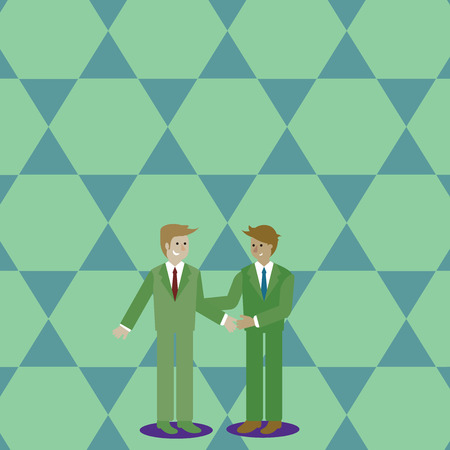 Two Businessmen Standing, Smiling and Greeting each other by Handshaking Design business Empty copy space text for Ad website promotion isolated Banner template