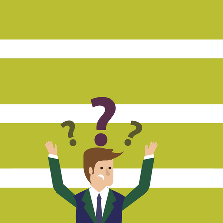 Confused Businessman Raising Both Arms with Question Marks Above his Head Design business concept Empty template copy space text for Ad website isolated
