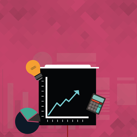 Investment Icons of Pie and Line Chart with Arrow Going Up, Bulb, Calculator Copy Space design Empty template text for Ad, promotion, poster, flyer, web banner, article Çizim