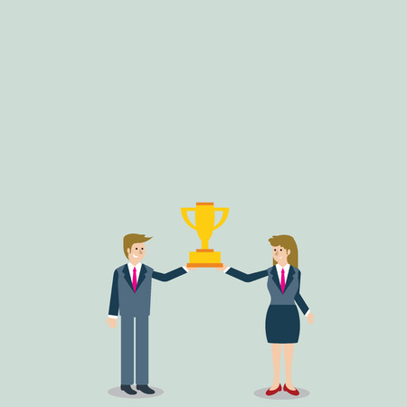 Man and Woman in Business Suit Holding Together the Championship Trophy Cup Design business concept Empty template copy space text for Ad website isolated
