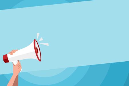 Mano umana che tiene saldamente un megafono con l'icona del suono e il concetto di business del design dello spazio del testo vuoto Spazio vuoto per la copia sfondo astratto moderno Vettoriali