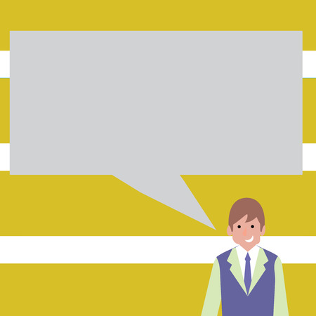 Businessman Smiling and Talking with Blank Rectangular Color Speech Bubble Business Empty template for Layout for invitation greeting card promotion poster voucher