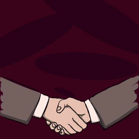 Businessmen Shaking Hands Firmly as Gesture Form of Greeting and Agreement Business concept Empty template copy space isolated Posters coupons promotional material 스톡 콘텐츠 - 120285739
