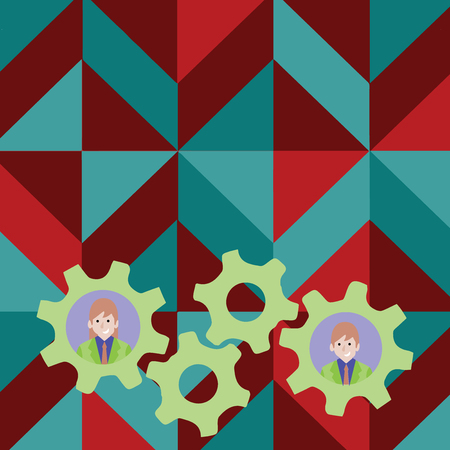 Two Business People Each Inside Colorful Cog Wheel Gears for Teamwork Event Design business concept Empty copy text for Web banners promotional material mock up template.