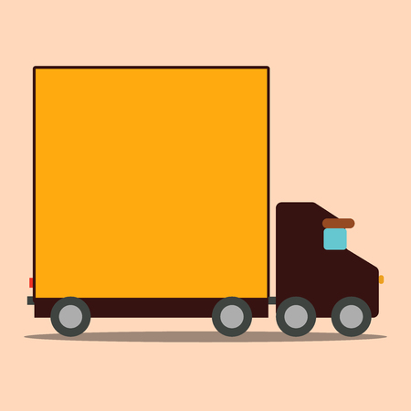 Delivery Lorry Truck with Blank Covered Back Container to Transport Goods Design business concept Empty copy space modern abstract background