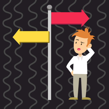 Man Confused with the Road Sign Arrow Pointing to Opposite Side Direction. Design business concept. Business ad for website and promotion banners. empty social media ad