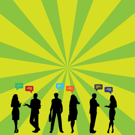 Silhouette Figures of Business PeopleTalking with Gestures and Text Balloon Design business Empty template isolated Minimalist graphic layout template for advertising