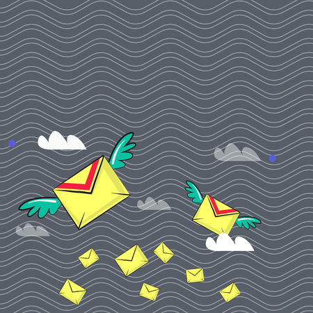 Many Colorful Airmail Flying Letter Envelopes and Two of Them with Wings Design business concept Empty copy space modern abstract background Ilustração