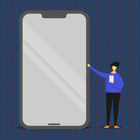 Man Presenting Huge Blank Screen Smartphone while Holding Another Mobile Design business concept Empty copy text for Web banners promotional material mock up template  イラスト・ベクター素材