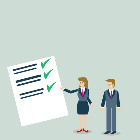 Man and Woman in Business Suit Presenting Report of Check and Lines on Paper Design business concept Empty copy space modern abstract background
