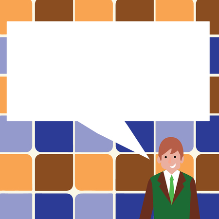 Businessman Smiling and Talking with Blank Rectangular Color Speech Bubble Business concept Empty template copy space isolated Posters coupons promotional material