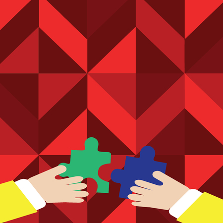 Two Hands Holding Colorful Jigsaw Puzzle Pieces about to Interlock the Tiles Business concept Empty template copy space isolated Posters coupons promotional material Illustration