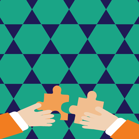 Two Hands Holding Colorful Jigsaw Puzzle Pieces about to Interlock the Tiles Business Empty template for Layout for invitation greeting card promotion poster voucher 免版税图像 - 123942388