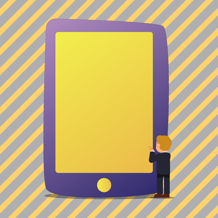 Businessman Standing and Gesturing Facing Blank Screen Giant Tablet Device Business concept Empty template copy space isolated Posters coupons promotional material Vettoriali