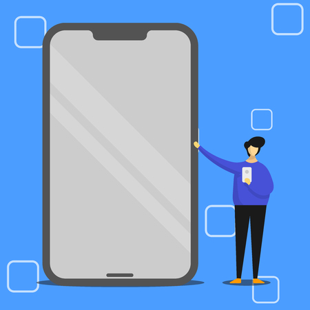 Man Presenting Huge Blank Screen Smartphone while Holding Another Mobile Design business Empty template isolated Minimalist graphic layout template for advertising