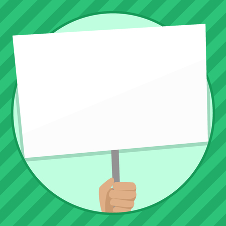 Hand Holding Blank White Placard Supported by Handle for Social Awareness Design business Empty template isolated Minimalist graphic layout template for advertising Illustration