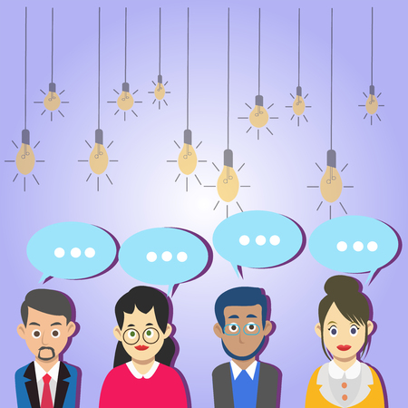Group of Business People with Blank Color Chat Speech Bubble with Three Dots Design business concept. Business ad for website and promotion banners. empty social media ad