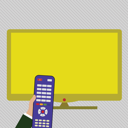Hand Holding Computer Remote Control infront of Blank Wide Color PC Screen Design business concept Empty copy space modern abstract background
