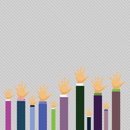 Hands of Several Businessmen Raising Up Above the Head, Palm Facing Front Design business concept Empty copy text for Web banners promotional material mock up template