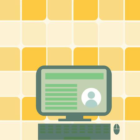 Ordinateur de bureau monté sur un support avec des données de profil en ligne sur le concept d'entreprise de conception d'écran de moniteur Texte de copie vide pour le modèle de maquette de matériel promotionnel de bannières Web. Vecteurs