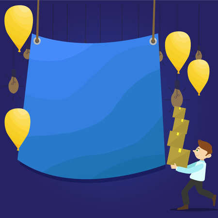 Man Carrying Pile of Boxes with Blank Tarpaulin in the Center and Balloons Design business concept Empty copy text for Web banners promotional material mock up template.