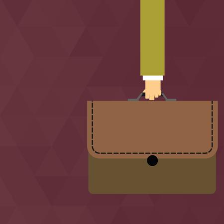 Imprenditore Hand Carrying Portafoglio colorato valigetta con Stitch Applique Design business concept Vuoto copia testo per banner Web materiale promozionale mock up template