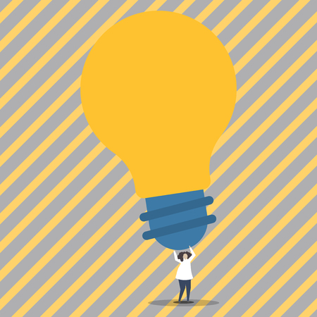 Person Standing and Raising Up Arms Holding Big Yellow Lightbulb for Ideas Business Empty template for Layout for invitation greeting card promotion poster voucher