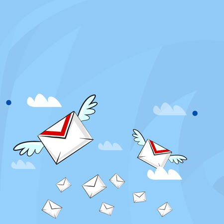 Many Colorful Airmail Flying Letter Envelopes and Two of Them with Wings Business Empty template for Layout for invitation greeting card promotion poster voucher