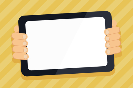 Color Tablet Smartphone with Blank Screen Handheld from the Back of Gadget Design business concept Empty copy space modern abstract background