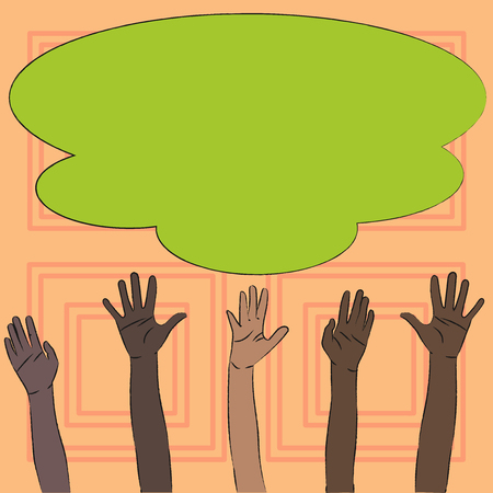 Multiracial Diversity Hands Raising Upward Reaching for Colorful Big Cloud Business concept Empty template copy space isolated Posters coupons promotional material