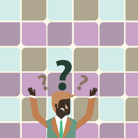 Confused Businessman Raising Both Arms with Question Marks Above his Head Design business concept Empty copy text for Web banners promotional material mock up template Illustration