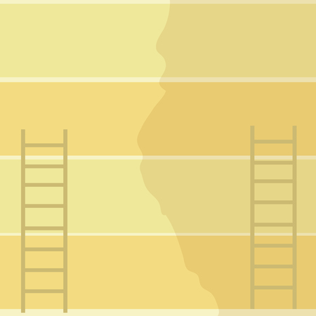 Two Vertical Upright Attic Ladders Leaning Against Striped Pale Color Wall Design business concept. Business ad for website and promotion banners. empty social media ad Ilustracja