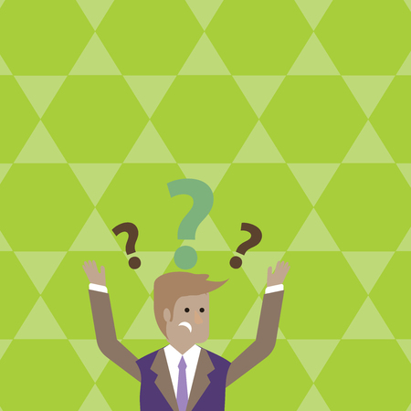 Confused Businessman Raising Both Arms with Question Marks Above his Head Business Empty template for Layout for invitation greeting card promotion poster voucher
