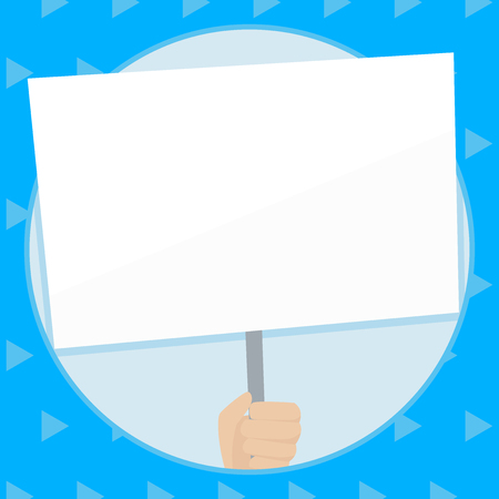 Hand Holding Blank White Placard Supported by Handle for Social Awareness Design business concept Empty template copy space text for Ad website isolated