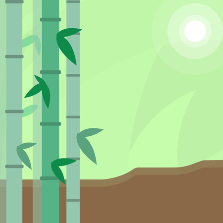 Colorful Sets of Leafy Bamboo on Left Side and Moon or Sun with Round Beam Design business concept Empty copy text for Web banners promotional material mock up template.