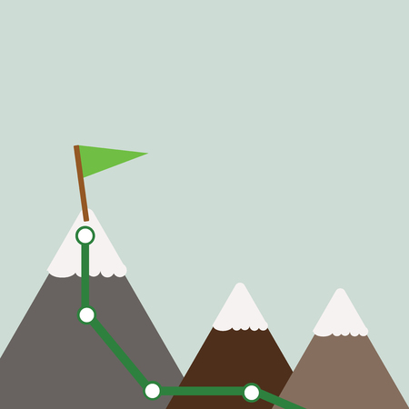 Three Mountains with Hiking Trail and White Snowy Top with Flag on One Peak Design business concept Empty copy space modern abstract background Ilustração
