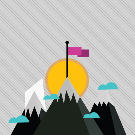 Three High Mountains with Snow and One has Blank Colorful Flag at the Peak Design business concept Empty copy space modern abstract background Banco de Imagens - 123943391